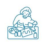 Begrepp för symbol för teckningshobby linjärt Teckningshobbylinje vektortecken, symbol, illustration vektor illustrationer