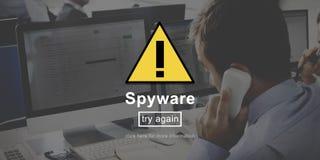 Begrepp för system för säkerhet för nätverk för SpywarevirusFirewall arkivfoton