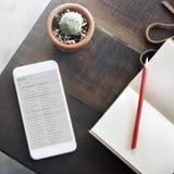 Begrepp för tabell för Email för Topview anteckningsbokmobiltelefon royaltyfria bilder