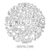 Begrepp för tandvårdrengöringsdukdesign Linje symboler för website och landningsida Royaltyfria Bilder