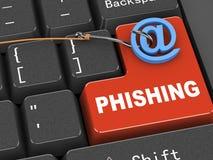 begrepp för tangentbord 3d av malware som phishing Arkivbild