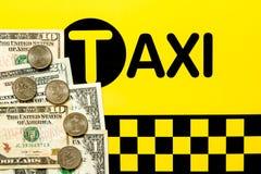 Begrepp för taxibiljettpris Arkivfoton