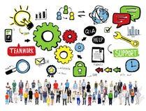 Begrepp för Team Teamwork Support Success Collaboration kuggeenhet Arkivbilder