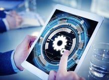 Begrepp för teamwork för kugge för Digitalt nätverk för teknologi arkivfoto
