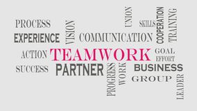 Begrepp för teamworkordmoln på grå bakgrund