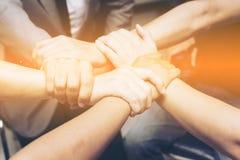Begrepp för teamworksamhörighetskänslasamarbete Top beskådar Arkivfoto