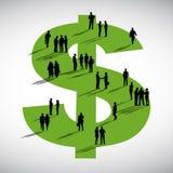 Begrepp för tecken för dollar för diskussion för gemenskapaffärsfolk royaltyfri illustrationer