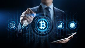 Begrepp för teknologi för affär för finans för pengar för Bitcoin cryptocurrency digitalt royaltyfria foton