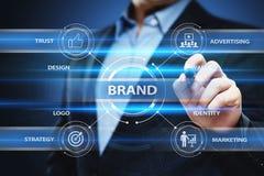 Begrepp för teknologi för affär för identitet för strategi för marknadsföring för märkesadvertizing royaltyfri fotografi
