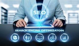Begrepp för teknologi för affär för internet för Website för SEO Search Engine Optimization Marketing rangtrafik Arkivbilder