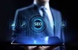 Begrepp för teknologi för affär för SEO Search motoroptimisation digitalt marknadsföra arkivfoton