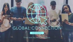 Begrepp för teknologi för anslutning för globalt nätverk fotografering för bildbyråer