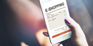 begrepp för teknologi för E-kommers online-shoppingWebsite Royaltyfri Foto