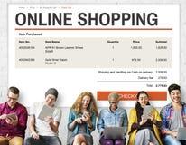 begrepp för teknologi för E-kommers online-shoppingWebsite Arkivbilder