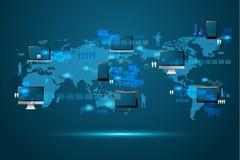 Begrepp för teknologi för global affär för vektor modernt Royaltyfri Foto