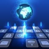 Begrepp för teknologi för global kommunikation för vektor digitalt, abstrakt bakgrund Royaltyfria Bilder