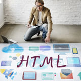 Begrepp för teknologi för HTML-dataspråkinternet online- Royaltyfria Bilder