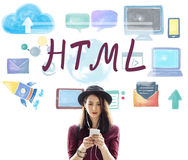 Begrepp för teknologi för HTML-dataspråkinternet online- Arkivbild