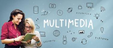 Begrepp för teknologi för multimedia för kommunikationsanslutningsinternet arkivfoto