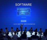 Begrepp för teknologi för system för programvarudataDigital program Arkivbilder