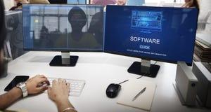 Begrepp för teknologi för system för programvarudataDigital program Arkivbild