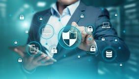 Begrepp för teknologi för internet för affär för avskildhet för säkerhet för Cyber för dataskydd royaltyfri foto
