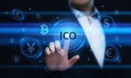 Begrepp för teknologi för internet för affär för ICO-initialmynt erbjudande royaltyfri fotografi