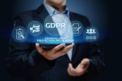 Begrepp för teknologi för internet för affär för reglering för skydd för allmänna data för GDPR royaltyfri foto