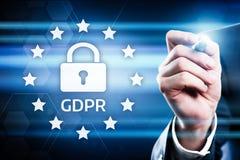 Begrepp för teknologi för internet för affär för reglering för skydd för allmänna data för GDPR royaltyfria bilder