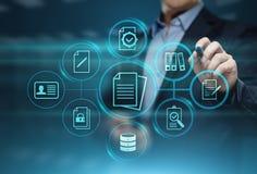 Begrepp för teknologi för internet för affär för system för dokumentledningdata royaltyfria bilder