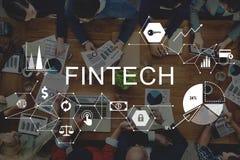 Begrepp för teknologi för internet för Fintech investering finansiellt arkivbild