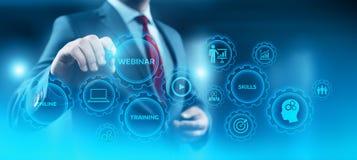Begrepp för teknologi för internet för Webinar E-lärande utbildningsaffär arkivfoto
