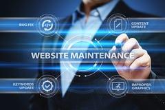 Begrepp för teknologi för nätverk för internet för Websiteunderhållsaffär Arkivbilder