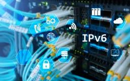 Begrepp för teknologi för nätverk Ipv6 på serverrumbakgrund Royaltyfria Foton