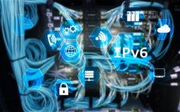 Begrepp för teknologi för nätverk Ipv6 på serverrumbakgrund Royaltyfri Fotografi