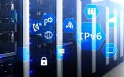 Begrepp för teknologi för nätverk Ipv6 på serverrumbakgrund Arkivfoton