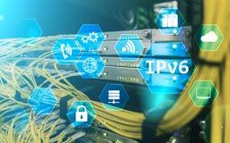 Begrepp för teknologi för nätverk Ipv6 på serverrumbakgrund Arkivbild