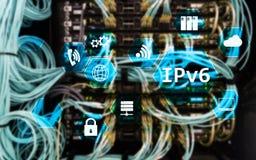 Begrepp för teknologi för nätverk Ipv6 på serverrumbakgrund Fotografering för Bildbyråer