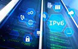 Begrepp för teknologi för nätverk Ipv6 på serverrumbakgrund Royaltyfri Foto