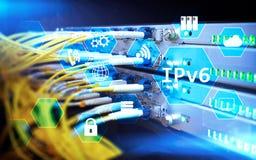 Begrepp för teknologi för nätverk Ipv6 på serverrumbakgrund Royaltyfria Bilder