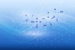 Begrepp för teknologi för vektorvetenskapsmyra Kemiska medicinformler förbindelse till den sömlösa modellen Molekyltecken Abstrak Royaltyfri Bild