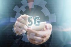 begrepp för telefon 5G Arkivbild