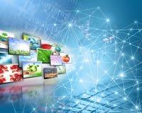 Begrepp för television- och internetproduktionteknologi Arkivbild