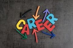 Begrepp för tillfällen för arbete för karriärbana, färgrikt träalfabet fotografering för bildbyråer