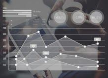 Begrepp för tillväxt för data för diagram för statistikanalysaffär Arkivbild