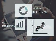 Begrepp för tillväxt för data för diagram för statistikanalysaffär Royaltyfri Bild
