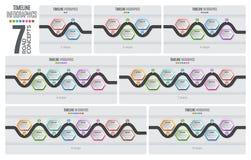 Begrepp för timeline för navigeringöversikt infographic också vektor för coreldrawillustration stock illustrationer