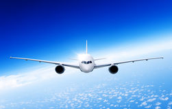 Begrepp för trans. för affär för flygplanflygplanlopp Arkivfoto