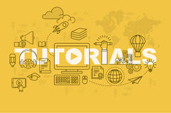Begrepp för Tutorialswebbsidabaner med den tunna linjen lägenhetdesign Fotografering för Bildbyråer