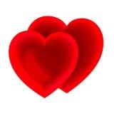 Begrepp för två rött hjärtor stock illustrationer